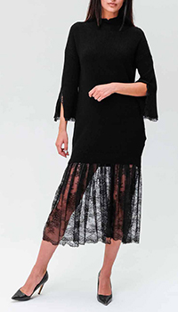 Черное платье Ermanno Ermanno Scervino с кружевом, фото
