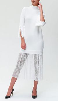 Белое платье Ermanno Ermanno Scervino с юбкой из кружева, фото