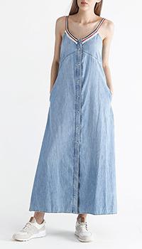 Джинсовое длинное платье Ermanno Ermanno Scervino с разрезом, фото