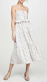 Платье-миди Ganni с мелким цветочным принтом, фото