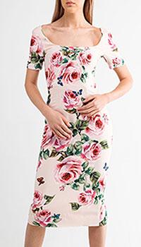 Платье Dolce&Gabbana на молнии с принтом-розами, фото