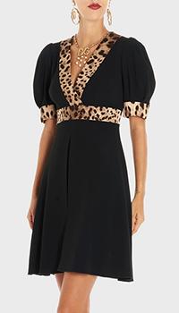 Черное платье Dolce&Gabbana с леопардовым принтом, фото