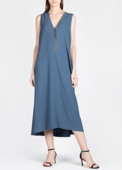Синее платье Fabiana Filippi с V-образным вырезом, фото