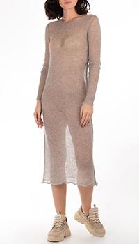 Серое платье-миди GD Cashmere с длинным рукавом, фото