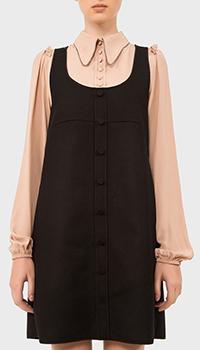 Черное платье N21 с декором-стразами на воротнике, фото