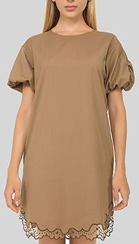 Платье N21 коричневое с кружевом, фото