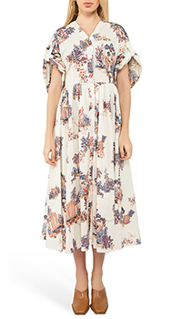 Бежевое платье-рубашка Vivetta с цветочным принтом, фото