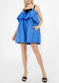 Синее платье N21 с оборками, фото