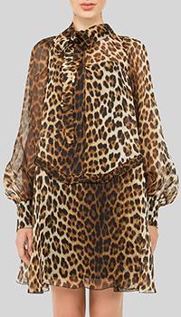 Шелковое платье N21 с леопардовым принтом, фото