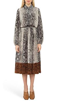 Шелковое платье N21 с узором под рептилию, фото