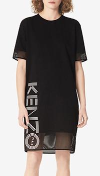 Черное платье Kenzo с сетчатыми вставками, фото