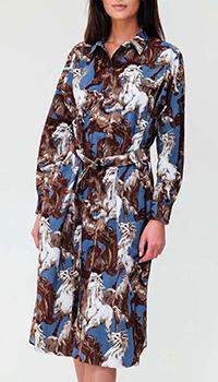 Платье-рубашка Kenzo с принтом в виде лошадей, фото