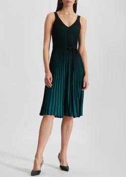 Плиссированное платье Kenzo темно-зеленого цвета, фото