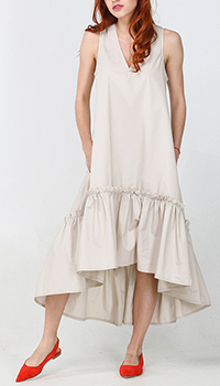Бежевое платье миди Kaos с пышной юбкой, фото