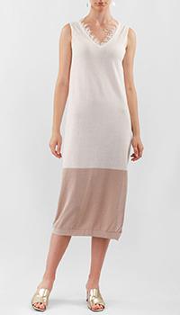 Белое платье Liviana Conti с контрастным подолом, фото