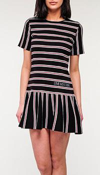 Черное платье Love Moschino в полоску, фото