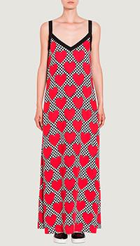 Красное платье Love Moschino с принтом в виде сердец, фото