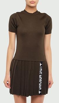 Коричневое платье Love Moschino с плиссированной юбкой, фото