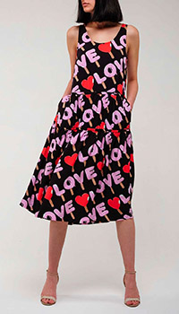 Черное платье Love Moschino Ice Cream с ярким принтом, фото