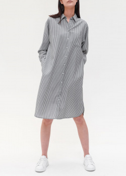 Серое платье-рубашка Max Mara Weekend с мелкую полоску, фото