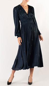 Темно-синее платье Maje с декором-заклепками, фото