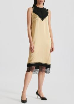 Бежевое платье N21 с кружевной отделкой, фото