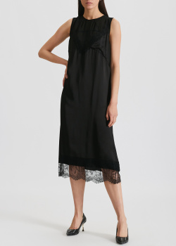 Платье-миди с кружевом N21 черного цвета, фото