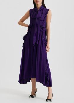Фиолетовое платье N21 с бантом на шее, фото