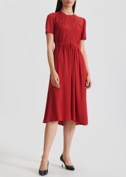 Красное платье-миди N21 с шелком, фото