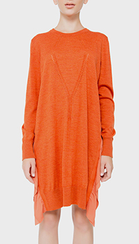 Оранжевое платье N21 с декором-рюшами, фото
