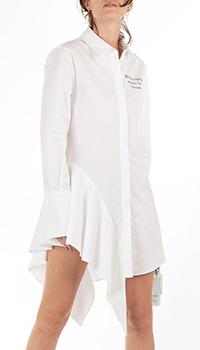 Белое платье-рубашка Off-White с длинным рукавом, фото