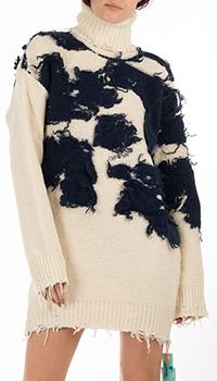 Бежевое шерстяное платье Off-White с черным декором, фото