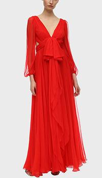 Длинное платье Аlexander McQueen из красного шелка, фото