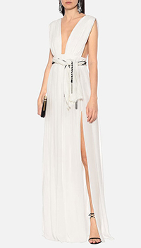 Белое платье Saint Laurent из шелка с открытой спиной, фото