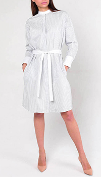 Серое платье Peserico в полоску с поясом, фото