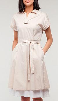Бежевое платье Peserico с воротником, фото