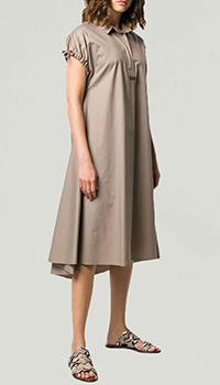 Коричневое платье Peserico свободного кроя, фото