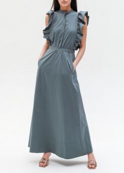 Длинное серое платье Peserico с рюшами, фото
