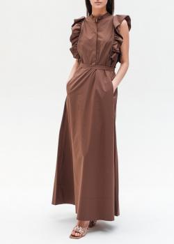 Коричневое платье Peserico с карманами, фото
