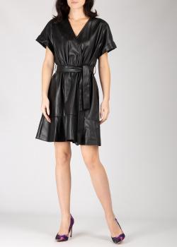 Черное платье Silvian Heach из искусственной кожи на запах, фото