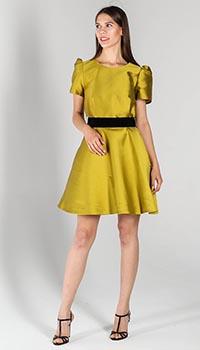 Платье с пышной юбкой P.A.R.O.S.H. горчичного цвета, фото