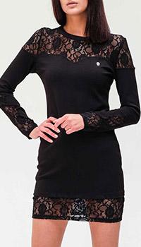 Черное платье Philipp Plein с кружевными вставками, фото