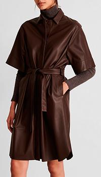 Кожаное платье-рубашка Fabiana Filippi с поясом, фото