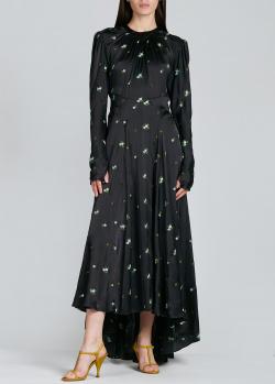 Шелковое платье Paco Rabanne черного цвета с вышивкой, фото