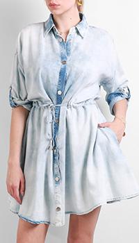 Голубое платье-рубашка Max&Moi с длинным рукавом, фото