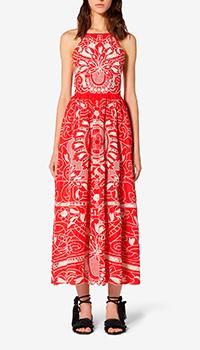 Красное платье Red Valentino с растительным узором, фото