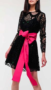 Черное платье Red Valentino с животным принтом, фото
