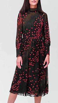 Черное платье Red Valentino с цветочным принтом, фото