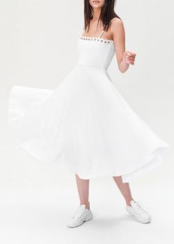Белое платье Red Valentino с плиссированной юбкой, фото