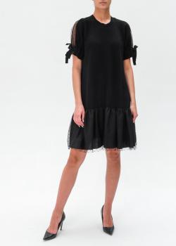 Черное платье Red Valentino с сетчатыми вставками, фото